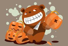 The teddy bear carving pumpkins Stock Image