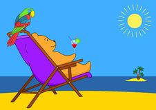 Teddy bear in a chaise lounge on a beach Royalty Free Stock Image