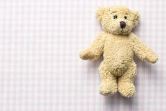 Teddy bear on checkered background Royalty Free Stock Image