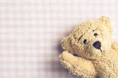 Teddy bear on checkered background Royalty Free Stock Photos