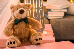 Teddy bear in child's room Stock Photography