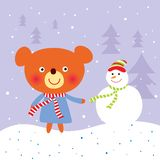 Teddy bear in christmas vector illustration