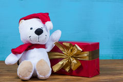 Teddy bear in Christmas background Royalty Free Stock Photos