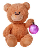 Teddy bear with christmas ball Stock Images