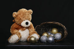 Teddy Bear and Christmas Bulbs Royalty Free Stock Images