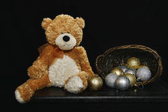 Teddy Bear and Christmas Bulbs 2 Royalty Free Stock Images