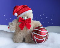 Teddy Bear Christmas Card - Stock Photo Royalty Free Stock Photography