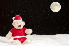 Teddy bear in christmas clothes in the snow Royalty Free Stock Photography