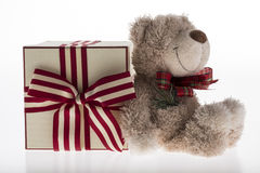 Teddy bear with christmas decoration on white background Royalty Free Stock Photo