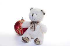 The Teddy bear and the christmas decorations. Isolated on white background Royalty Free Stock Photo