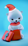 Teddy bear with Christmas gift box, clipping path Stock Image