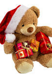 Teddy bear with christmas gifts Royalty Free Stock Photography