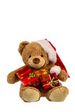 Teddy bear with christmas gifts Stock Photography