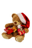 Teddy bear with christmas gifts Royalty Free Stock Photos