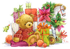 Teddy bear and Christmas gifts. New year and Christmas background Stock Images