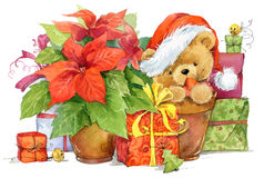 Teddy bear and Christmas gifts. New year and Christmas background Royalty Free Stock Photos