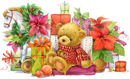 Teddy bear and Christmas gifts. New year and Christmas background Royalty Free Stock Image