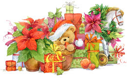 Teddy bear and Christmas gifts. New year and Christmas background Royalty Free Stock Images
