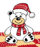 Teddy bear in a Christmas hat Stock Photo