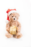 Teddy bear with christmas hat Stock Image