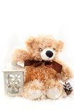 Teddy-bear with christmas lantern Royalty Free Stock Images