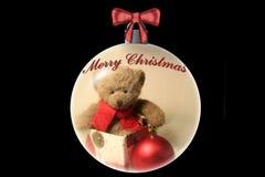 Teddy Bear Christmas Ornament. Teddy bear in a gift box inside of a christmas ornament Royalty Free Illustration