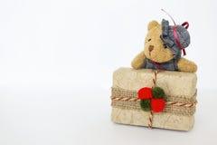 Teddy bear on Christmas present Royalty Free Stock Image