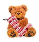 Teddy bear with Christmas stocking stock photo
