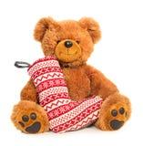 Teddy bear with Christmas stocking royalty free stock photos