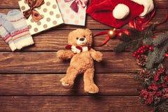 Teddy bear and christmas toys Stock Photos