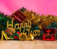 Teddy bear and Christmas tree with presents on background Royalty Free Stock Images