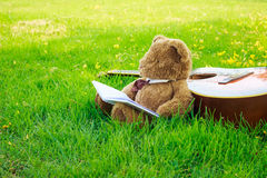 Teddy bear on classical guitar on field. The songwriting duo recording Royalty Free Stock Photos