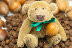 Teddy bear, coffee beans and nuts Royalty Free Stock Photos