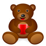 Teddy bear coffee cup Stock Images