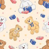 Teddy bear color seamless background. Royalty Free Stock Photos