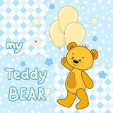 Teddy bear on the colorful background. Vector print for children wear Royalty Free Stock Photo