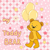 Teddy bear on the colorful background. Vector print for children wear Royalty Free Stock Photos
