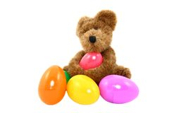 Teddy Bear With Colorful Easter Eggs Royalty Free Stock Photography