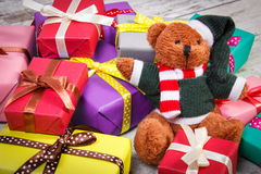 Teddy bear with colorful gifts for Christmas or other celebration Royalty Free Stock Photo