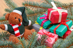 Teddy bear with colorful gifts for Christmas and spruce branches Royalty Free Stock Photo