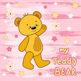 Teddy bear on the colorfull background. Stock Photos