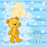 Teddy bear on the colorfull background. Vector print for children wear Royalty Free Stock Photo