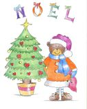 Teddy Bear con el árbol de navidad imagenes de archivo