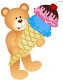 Teddy Bear con il cono gelato Fotografia Stock Libera da Diritti