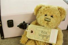 Teddy Bear con l'etichetta d'annata dei bagagli buon viaggio e della valigia Immagine Stock
