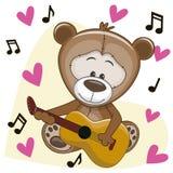 Teddy Bear con la chitarra Fotografie Stock Libere da Diritti