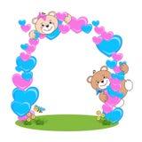 Teddy Bear con la struttura del cuore Fotografia Stock