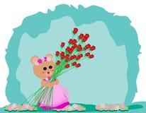 Teddy Bear con Rosa Fotografia Stock Libera da Diritti