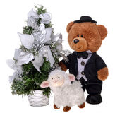 Teddy bear in costume with sheep Royalty Free Stock Images