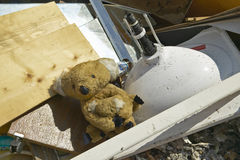 Teddy Bear on couch sits atop rubble after Hurricane Ivan strikes home in Pensacola Florida Stock Images